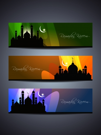 mosque illustration: header or banner set for ramadan and eid