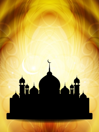 Artistic religious eid background with mosque  Vector