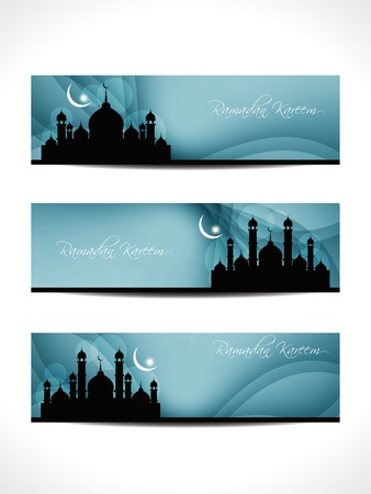 mosque illustration: religious header or banner for ramadan and eid Illustration