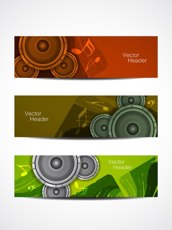 set of beautiful music header designs  vector illustration Vector