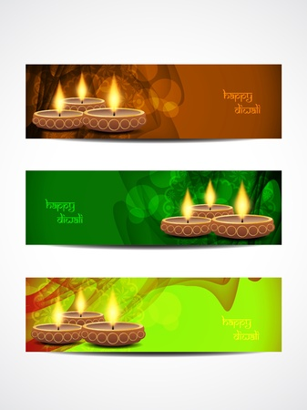 abstract vector web header banner designs for diwali  Vector