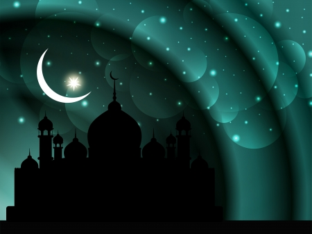 mosque illustration: religious eid background design with mosque  Illustration