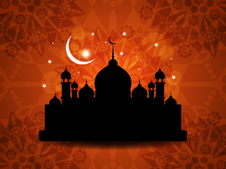 muslim pray: religious eid background design with mosque  Illustration