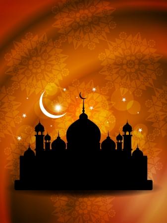religious eid background design with mosque  Illustration