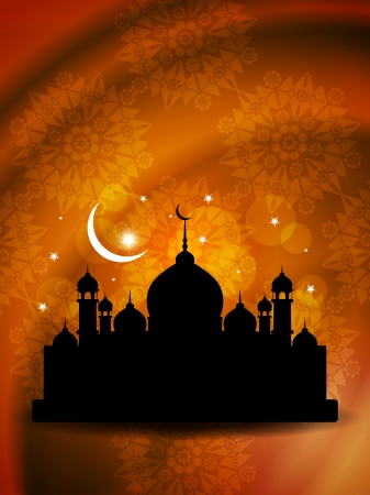 religious eid background design with mosque  Vector