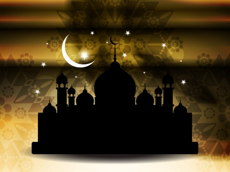 feter: religious eid background design with mosque  Illustration