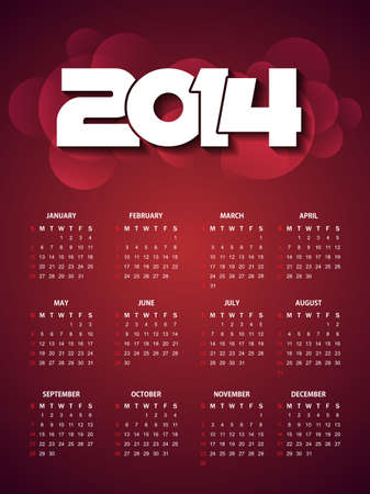 beautiful calender design for new year 2014  Vector