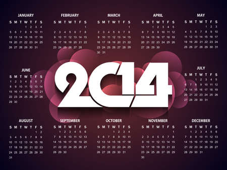 calender design: Beautiful happy new year 2014 calender design Illustration