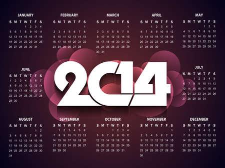 calender design: Beautiful happy new year 2014 calender design Illustration