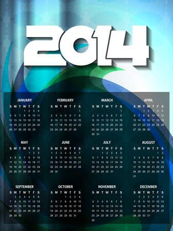 calender design: beautiful calender design for new year 2014