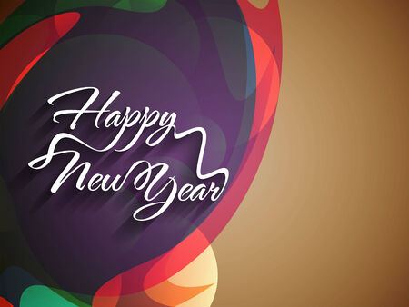 happy new year text: Beautiful elegant text design of happy new year on colorful background  Illustration