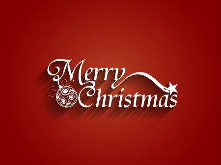 Beautiful Text Design Of Merry Christmas On Red Color Background ...