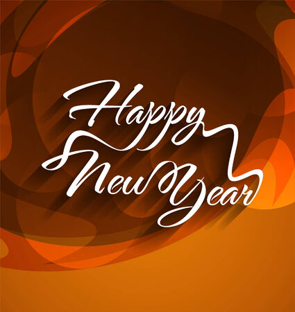beautiful typography of happy new year on colorful background   Vector
