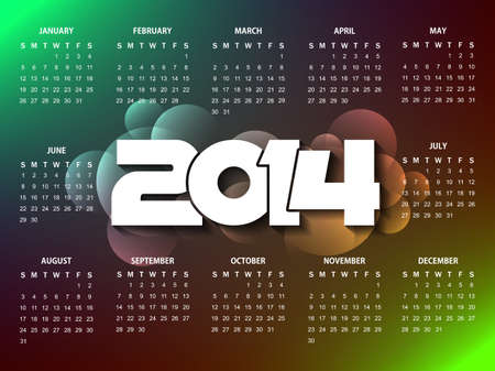 calender design: colorful calender design for new year 2014
