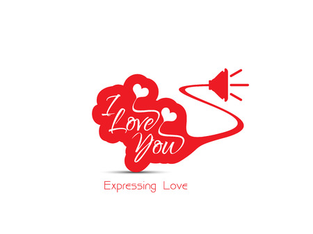 expressing: Expressing love concept design on white background