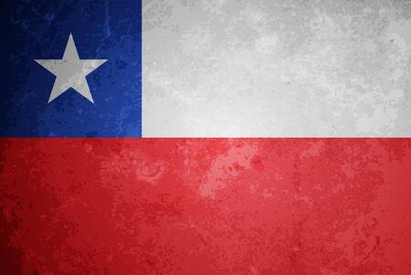 bandera de chile: hermoso diseño de la bandera del grunge con textura de Chile