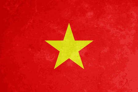 vietnam flag: vector beautiful grunge textured flag design of Vietnam