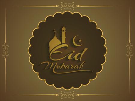 muslim celebration: Artistic Eid Mubarak elegant background design