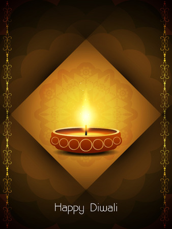 artistic background design for Diwali festival with beautiful lamp  Illustration