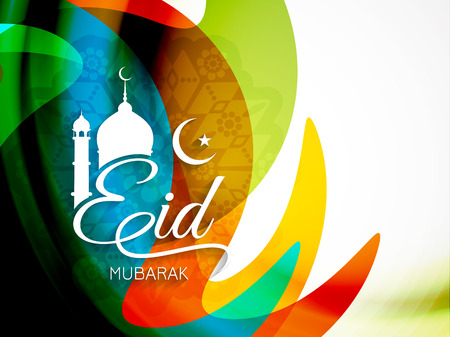 religious: Eid mubarak background design Illustration