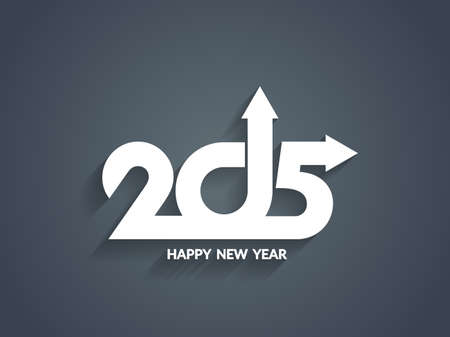 happy new year text: Elegant happy new year 2015 text design Illustration