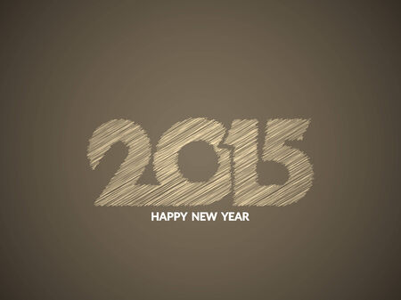 happy new year text: Beautiful happy new year 2015 text design in sketch pattern. Illustration