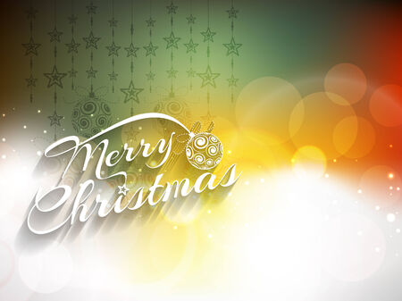 happy new year text: Glowing colorful Merry Christmas background design. Vector illustration