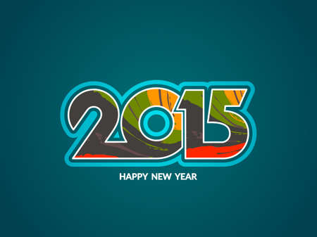 happy new year text: Happy new year 2015 colorful text design.