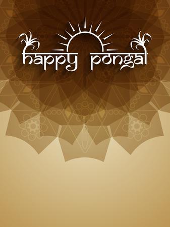 indian village: Elegant background design of Happy Pongal. Illustration