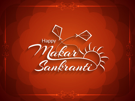indian festival: Elegant background design of Makar Sankranti.