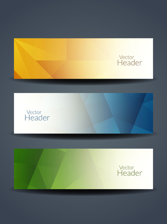 Set of abstract beautiful web header designs. Illustration