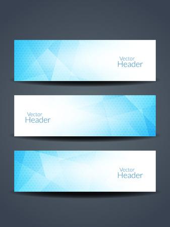 Beautiful blue color vector header designs.