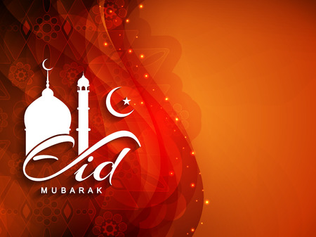 religious text: Eid mubarak background design Illustration