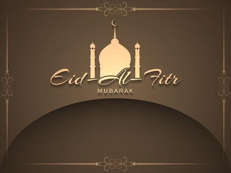 fitr: Artistic religious Eid Al Fitr mubarak card design. Illustration