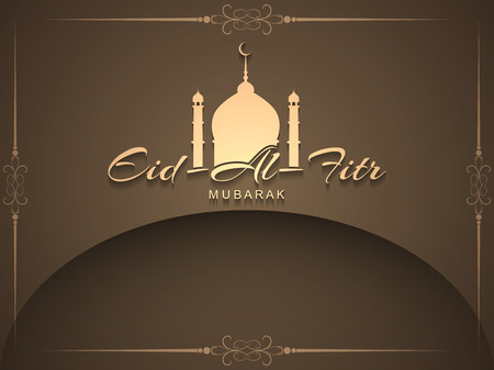 Artistic religious Eid Al Fitr mubarak card design. Illustration
