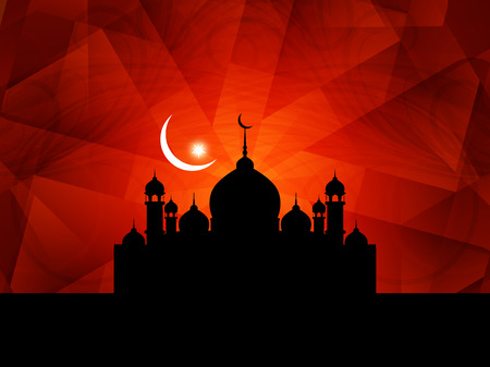Elegant Eid Mubarak background design with mosque