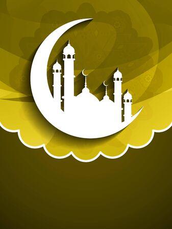 muslim pray: Elegant background design for Islamic festivals Ramadan and Eid.
