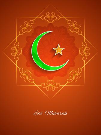 crescent: Eid Mubarak background design with crescent moon Illustration