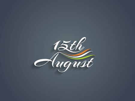 august: Beautiful text design of 15th August, Indian Independence day. Illustration