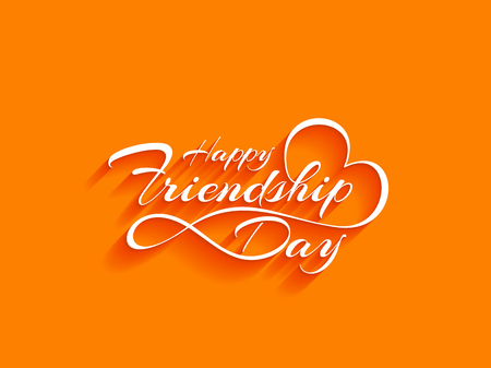 white color: Creative white color happy friendship day text design element on bright background.