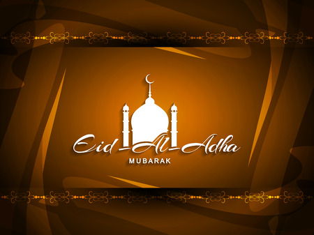 eid: Beautiful Eid Al Adha mubarak religious background design. Illustration