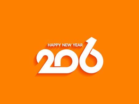 happy new year text: Beautiful text design of happy new year 2016 on bright background.