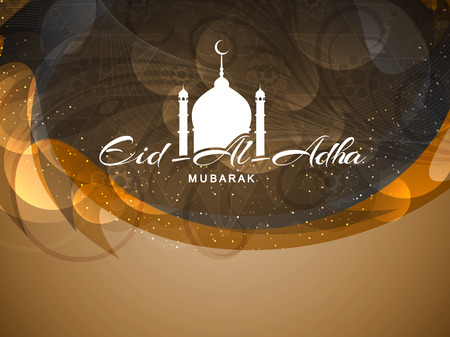 religious text: Beautiful Eid Al Adha mubarak religious background design. Illustration