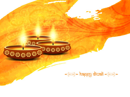 festival vector: Elegant card design of traditional Indian festival Diwali with lamps.