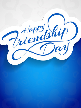 love and friendship: Happy Friendship Day vector card design.