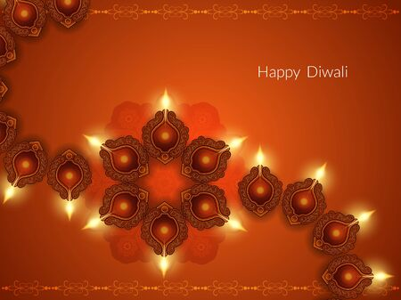 religious celebration: Religious card design for Diwali festival with beautiful lamps
