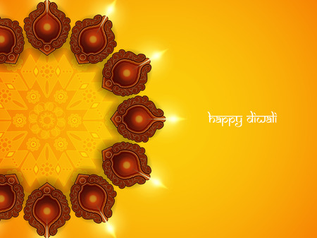 holiday celebrations: Religious card design for Diwali festival with beautiful lamps