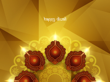 Religious card design for Diwali festival with beautiful lamps