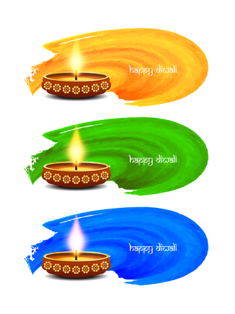 abstract illustration: Happy Diwali watercolor banner design Illustration