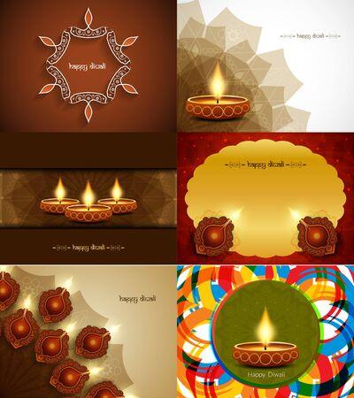 Set of Happy Diwali background designs